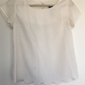 Scalloped Off White Top